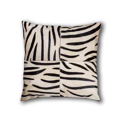 Graham Zebra Leather Throw Pillow