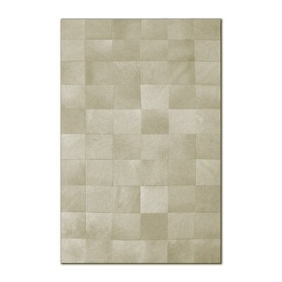 Aayush Ten Square Patch Hand-Woven Cowhide Off White Area Rug� Rug Size: 5 x 8