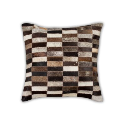 Graham Geometric Cowhide Throw Pillow Color: Black/Beige/Brown