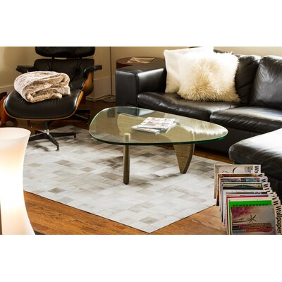 Aayush Four Square Patch Hand-Woven Cowhide Gray Area Rug