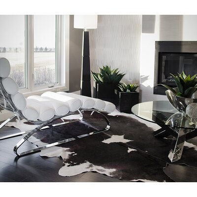Abhinav Hand-Woven Leather Chocolate/White Cowhide Area Rug