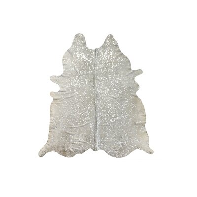 Houchin Hand-Woven Cowhide Beige/Silver Area Rug
