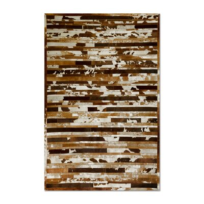 Sathvik Hand-Woven Cowhide Brown/White Area Rug� Rug Size: 8 x 10