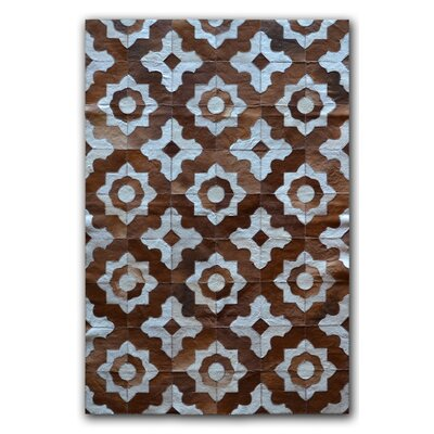Marrakeche Brown/Blue Cowhide Area Rug Rug Size: Rectangle 8 x 10