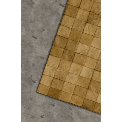 Aayush Four Square Patch Hand-Woven Cowhide Tan Area Rug
