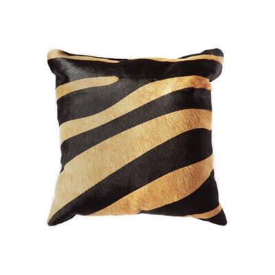 Graham Square Hidden Zipper Cowhide Lumbar Pillow Color: Black/Tan