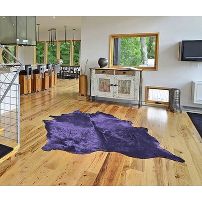 Plainsboro Hand-Woven Leather Purple Cowhide Area Rug