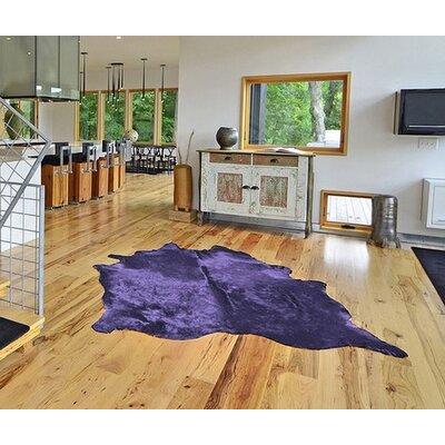 Plainsboro Hand-Woven Leather Purple Area Rug