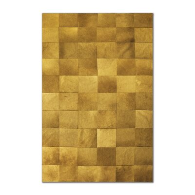 Aayush Ten Square Patch Hand-Woven Cowhide Tan Area Rug� Rug Size: 5 x 8