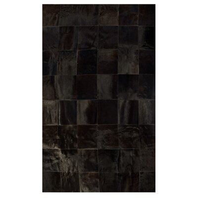 Aayush Ten Square Patch Hand-Woven Cowhide Chocolate Area Rug� Rug Size: 5 x 8