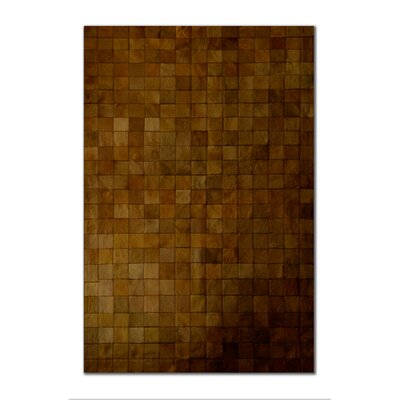 Aayush Four Square Patch Hand-Woven Cowhide Brown Area Rug� Rug Size: 5 x 8