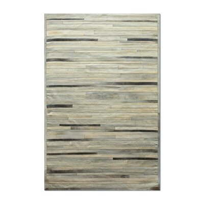Sathvik Hand-Woven Cowhide Gray Area Rug� Rug Size: 5 x 8