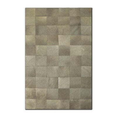 Aayush Ten Square Patch Hand-Woven Cowhide Gray Area Rug� Rug Size: 5 x 8