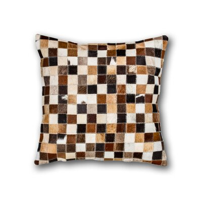 Graham Multipatch Leather Throw Pillow Color: Black/White