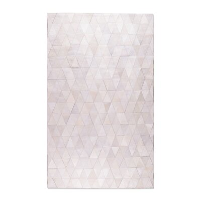 Dhairya Stitch Hand-Woven Cowhide Mosaik Off White Area Rug Rug Size: 8 x 10