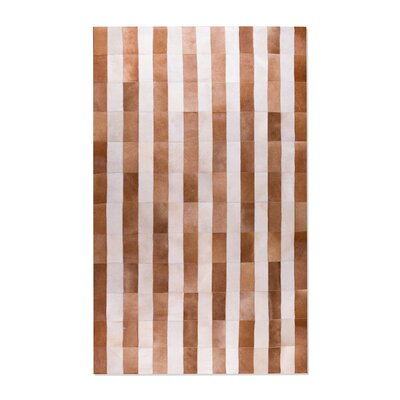 Brown/White Stripe Area Rug Rug Size: 5 x 8