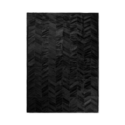 Braddock Stitch Hand-Woven Cowhide Parquet Black Area Rug Rug Size: 8' x 10'