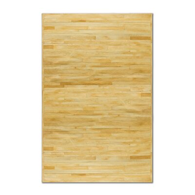 Sathvik Hand-Woven Cowhide Beige Area Rug� Rug Size: 5 x 8
