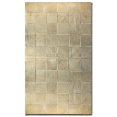 Aayush Ten Square Patch Hand-Woven Cowhide Beige Area Rug� Rug Size: 5 x 8