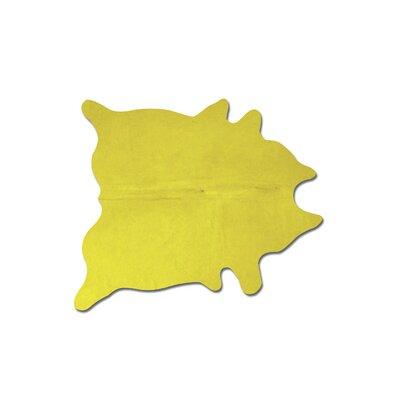 Plainsboro Handmade Yellow Cowhide Area Rug