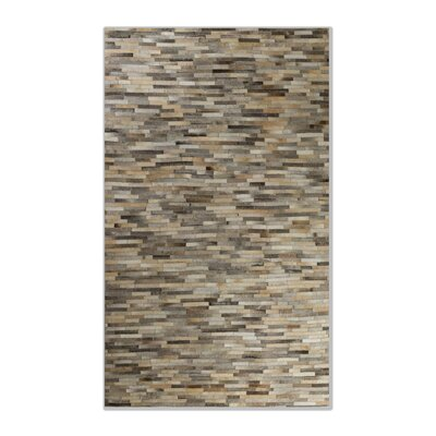 Sathvik Hand-Woven Leather Gray Cowhide Area Rug Rug Size: 5 x 8