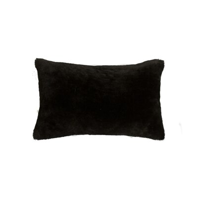 Allura Rectangular Sheepskin Lumbar Pillow Color: Black