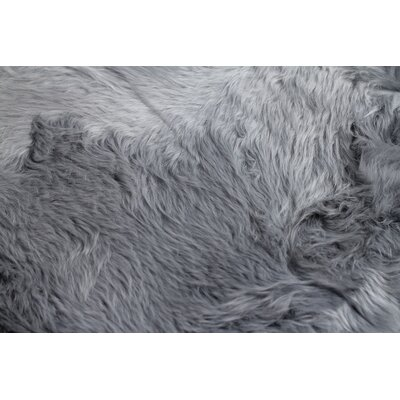 Handmade Grey Sheepskin Area Rug Rug Size: Rectangle 2 x 3