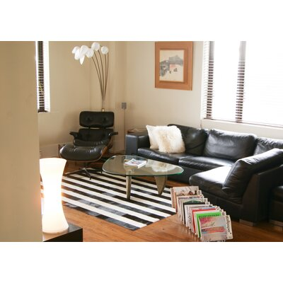 Darshan Stitch Striped Hand-Woven Cowhide Black/White Area Rug