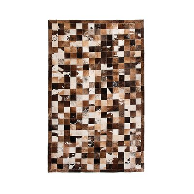 Aayush Four Square Patch Hand-Woven Cowhide Black/Brown/Gray Area Rug