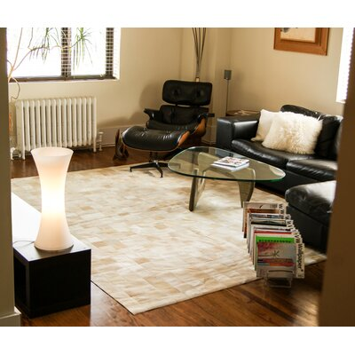 Aayush Four Square Patch Hand-Woven Cowhide Natural Area Rug