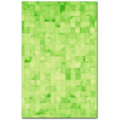 Aayush Four Square Patch Hand-Woven Cowhide Lime Area Rug