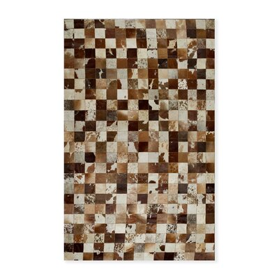 Aayush Four Square Patch Hand-Woven Cowhide Brown/White Area Rug