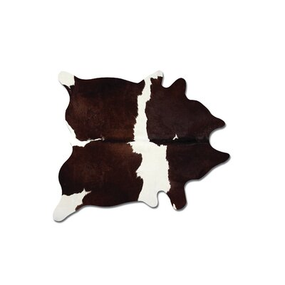 Abhinav Hand Woven Chocolate/White Cowhide Area Rug