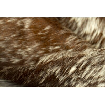 Abhinav Hand-Woven Cowhide Pepper Chocolate/White Area Rug