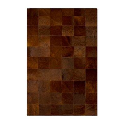 Aayush Ten Square Patch Hand-Woven Cowhide Brown Area Rug� Rug Size: 5 x 8