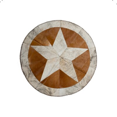 Griffin Stitch Hand-Woven Cowhide White/Brown/Black Area Rug