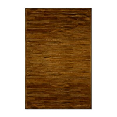 Sathvik Hand-Woven Cowhide Brown Area Rug� Rug Size: 8 x 10