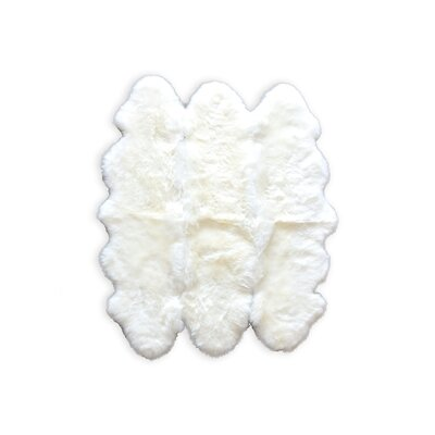 Rolande Hand-Woven Sheepskin White Area Rug Rug Size: 5 x 6