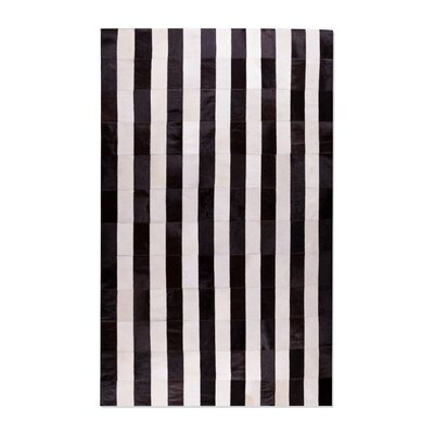 Manan Stitch Striped Hand-Woven Cowhide Black/White Area Rug
