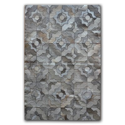 Bettis Natural Stitch Hand-Tufted Cowhide Marrakeche Gray Area Rug Rug Size: Rectangle 5 x 8