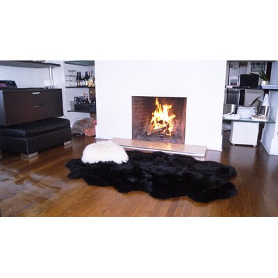Hand-Knotted Black Sheepskin Area Rug Rug Size:  Rectangle 7 x 3