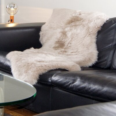 Hand-Tufted Taupe Sheepskin Area Rug Rug Size: Rectangle 2 x 3