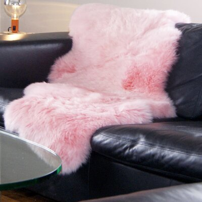 Hand-Tufted Pink Sheepskin Area Rug Rug Size: Rectangle 2' x 3'