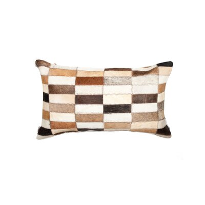Graham Leather Lumbar Pillow Color: Brown/Beige