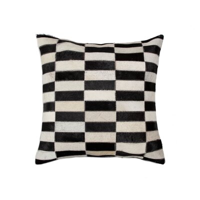 Graham Geometric Cowhide Throw Pillow Color: Black/White
