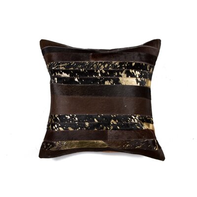 Sarthak Cowhide Throw Pillow Color: Chocolate/Gold