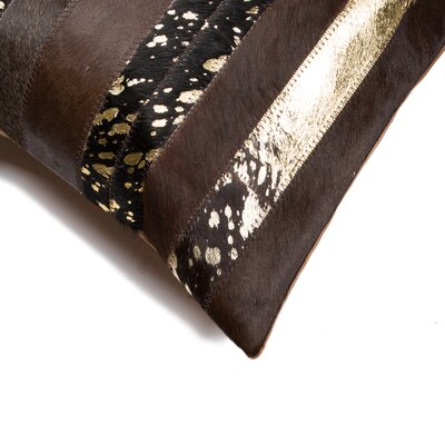Sarthak Leather Throw Pillow Color: Natural/Gold