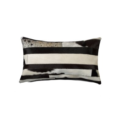 Graham Solid Cowhide Lumbar Pillow Color: Black/White