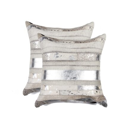 Sarthak Cowhide Pillow Color: Gray/Silver