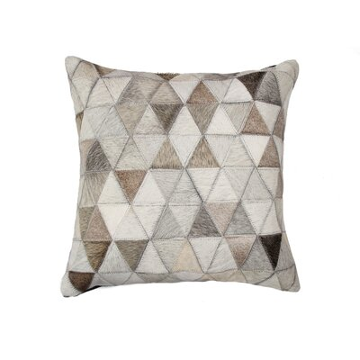 Graham Mosaik Leather Throw Pillow Color: Gray